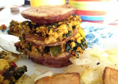 Breakfast Potato Stack with Tofu Scramble